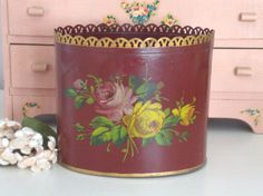 VINTAGE TOLE CADDY Hand Painted Roses Floral by IWANTVINTAGE