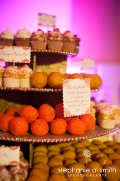 A mix of indian desserts and traditional American desserts are a perfect fusion wedding idea ; or if you're having a traditional indian wedding, do the same if you want a more modern indian wedding reception idea Indian Wedding Food, Indian Reception, Indian Fusion Wedding, Reception Food, Indian Wedding Decorations, Indian Weddings, Real Weddings, Desi Wedding, Indian Wedding Receptions