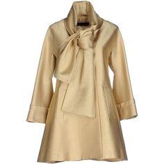 Elie Saab Full-length Jacket found on Polyvore featuring outerwear, jackets, coats, gold, single breasted jacket, brown jacket, elie saab, multi pocket jacket and 3/4 sleeve jacket