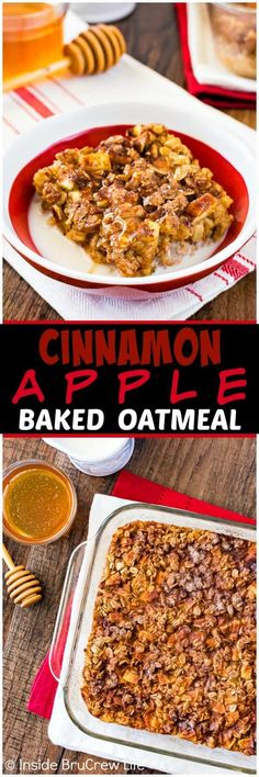 Cinnamon Apple Baked Oatmeal - this easy oatmeal breakfast is loaded with fruit and nuts. Great recipe to make ahead of time for busy