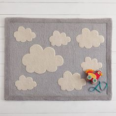 Grey and white, soft as a cloud, our Clouds rug is heavenly in a nursery or bedroom.