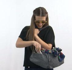 bolso con un jean Denim Jeans, Gym Bag, Barbie, Bags, Mini, Ideas, Fashion, Shape, Tela