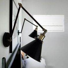Black Cone Shade Wall Light Sconce (long arm)