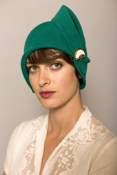 Green cloche with eggshell detail by yellowfield7 on Etsy, $350.00