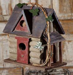 Duncraft.com: Log Cabin Birdhouse -- nearly too adorable to hang outside! #birdhouse #logcabin
