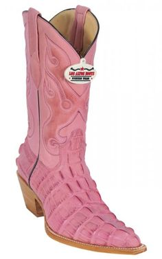 Pink All-Over Alligator Tail Print Cowboy Boots
