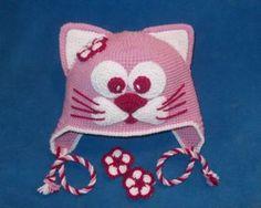 Купить шапку кошку для девочки, детские прикольные шапочки с ушками крючком на…