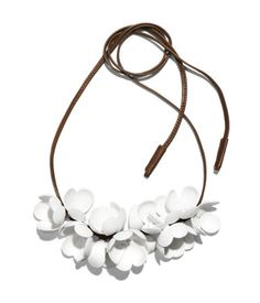 Necklace $39.95  DESCRIPTION  Marni. Leather cord necklace with large plastic flowers. Ties at neck.  DETAILS  100% polyacrylic. -  Imported.  MARNI at H&M