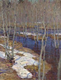 poboh: The thaw, Isaac Il'ich Levitan. Painting Snow, Winter Painting, Winter Art, Russian Landscape, Landscape Art, Landscape Paintings, Russian Painting, Russian Art, Art Gallery