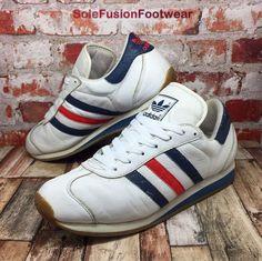 93e25e843cfe0e adidas Country Mens Trainers White Blue sz UK 11 Rare VTG Sneakers US 11.5  EU