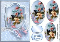 Fairy Wren Lace and Butterflies on Craftsuprint designed by Mary MacBean - Pretty pyramid card front with a lovely little wren on a flower background, lace, pearls and butterflies. There is a With Love sentiment or a blank tag for your own message making this card suitable for many occasions.  - Now available for download!