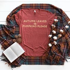 f3f126d67 Autumn Leaves Short sleeve t-shirt • County Road Nine Autumn Leaves and  Pumpkins Please