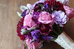 Plum, purple, and lavender bridal bouquet