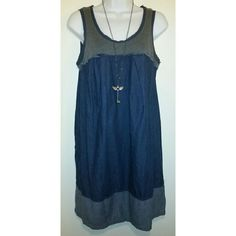 "⬇PRICE DROP⬇Simply Vera Vera Wang Denim Dress Simply Vera Vera Wang  Dress Size: medium (over sized) 2 Tone Blue and Grey Denim Cotton/Poly Mix Sleeveless, 2 pockets on side seam Baby doll style Scoop neck? Measurement approximations taken laying flat:?? Length 35""?? Armpit to armpit 17"" Like new Simply Vera Vera Wang Dresses Midi"