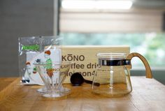 KONO 4 person coffee dripper set - Sakura Wood handles