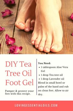 Homemade Tea Tree Oil Foot Gel Recipe - Use this essential oil blend after tea tree foot bath by Loving Essential Oils. Visit the blog post for more great essential oil recipes, tips, and printables. #lovingessentialoils #teatreeoil #essentialoilrecipe
