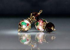 2 Brown Cloissone Earrings or Dangles - Handmade 9mm Dark Brown Green White Red Flower Cloisonne Round Beads by goldcountrydangles on Etsy