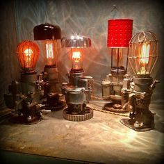 Ambiance lamps, made from SU carburetors & other car parts