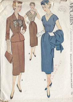 "1954 Vintage Sewing Pattern B34"" DRESS & JACKET (R56) 