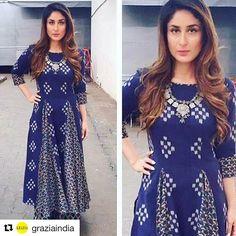 Grazia India ❤️ with ・・・ Kareena Kapoor Khan works print on print with ease Indian Bridal Lehenga, Red Lehenga, Lehenga Choli, Anarkali, Lehenga Wedding, Indian Attire, Indian Wear, Saris, Indian Dresses
