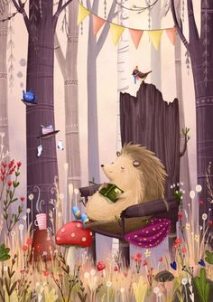 Hedgehog's reading nook by Lucy Fleming Art And Illustration, Hedgehog Illustration, Illustration Inspiration, Art Graphique, Whimsical Art, Graphic, Cute Art, Book Art, Art Drawings