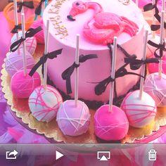 Flamingo cake-Addy loves damingos!
