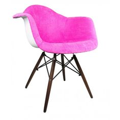 Shocking Pink Velvet Fabric Eames Style Accent Arm Chair with Dark Walnut Wood Eiffel Legs