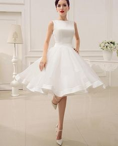 Wholesale A-Line Wedding Dresses - Buy Cut Out Backless Satin Knee-Length Wedding Dress with Bow Decor Sash, $45.58 | DHgate
