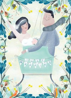 I'm Marisa Morea and I was born in Madrid , Spain. I love saturating my work with good mood, storytelling, vibrant colors and a little bit of tenderness. Baltimore, Wedding Illustration, Illustrations, Just Married, Good Mood, Good Vibes, Wedding Cards, Storytelling, Vibrant Colors