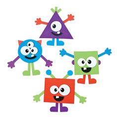 Shape Monsters Craft Kit - OrientalTrading.com This can be done at home with colored card stock. pre-cut eyes, hands feet or buy eye stickers