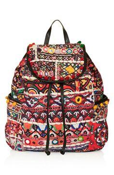 Topshop  Cuzco  Pompom Trim Embroidered Backpack available at  Nordstrom  Rucksack Bag 979e80f9b3398
