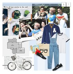 """""""This summer, lets spent it together. We'll ride our bikes, eat watermelon, take polaroid pictures, and have fun. It's my ideal summer."""" by pit-a-pat ❤ liked on Polyvore featuring Maison Scotch, Monki, NIKE and Polaroid"""