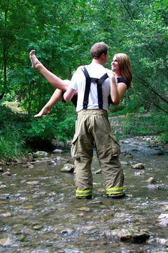 Firefighter & his fiance :) ooo i want this pic with seth!