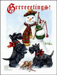 Scottish Terrier and Bag-piping Snowman Christmas Card (to use as inspiration)