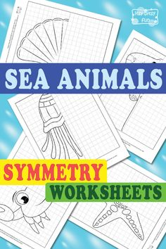 Animals Symmetry Drawing Worksheets Free Printable Sea Animals Symmetry Worksheets for KidsFree Printable Sea Animals Symmetry Worksheets for Kids Symmetry Worksheets, Symmetry Activities, Animal Worksheets, Animal Activities, Worksheets For Kids, Science Activities, Drawing For Kids, Art For Kids, Kid Art