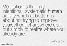 Meditation is the only intentional, systematic human activity which at bottom is about not trying to improve yourself or get anywhere else, but simply to realize where you already are. Jon Kabat-Zinn