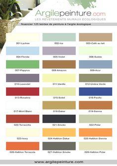 Nuancier peinture l 39 argile plaquette 5 peinture l 39 argile pinterest for Peinture argile nuancier