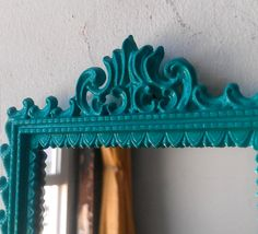 Small Turquoise Blue Wall Mirror in Ornate by SecretWindowMirrors, $25.00