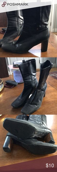 Nine West black leather boots, mid-calf These boots are used but still have some life left in them. They could use a good shine too. Nine West Shoes Heeled Boots