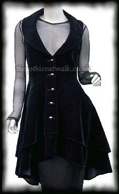 Plus Size Long Black Velvet Sleeveless Waistcoat Jacket