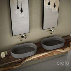 Square washbasin 40 colored Arenaria Shui Comfort - Wash basin colored bathroom Ceramica Cielo