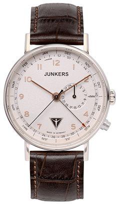 Montre Junkers 6734-4 - Homme - Quartz - Analogique - Cadran en Acier Argent - Bracelet en Cuir Marron - Date et Mois