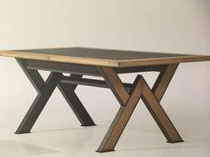 Welded Furniture, Iron Furniture, Diy Furniture Plans, Steel Furniture, Table Furniture, Farmhouse Dining Room Table, Diy Dining Table, Trestle Dining Tables, Wood Table Design