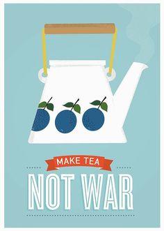 Tea quote poster Stig Lindberg Prunus Mid Century Modern by handz