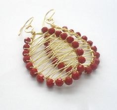 Holiday Red Gold Wire Wrapped Earrings Large by jewelrybyadonis