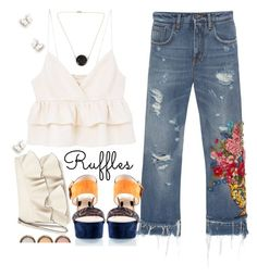 """Ruffles & Denim"" by juliehooper ❤ liked on Polyvore featuring MANGO, Dolce&Gabbana, Loriblu, Miss Selfridge, Esenelle, By Terry, denim, polyvoreeditorial and ruffledtops"