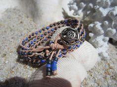 Boho Purple braided leather wrapped Bracelet by BeadDazzlers, $34.00