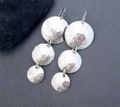 Sterling Silver Disc Earrings Hammered Silver Round Dangle Earrings Long Earrings Handmade Modern Metal Jewelry Greek Goddess Jewelry