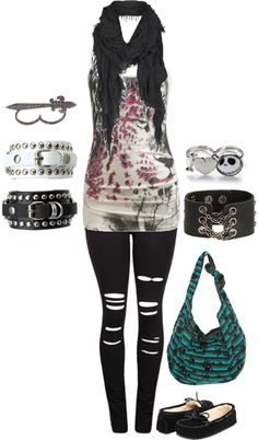 """Still bored-.-"" by bvb-soldier ❤ liked on Polyvore. Just without the bag and scarf"