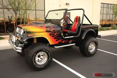 Jeep CJ7 1981 with a sweet paint job! I love the flames!